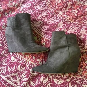 Zara Gray Wrapped Wedge Ankle Boot
